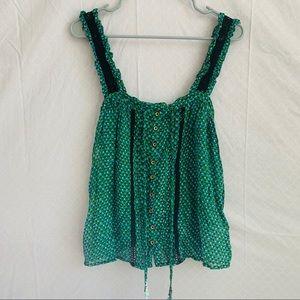Anthropologie Bardot Printed Sheer Crochet Tank